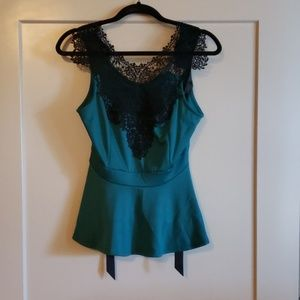 Beautiful Teal Peplum Top with Lace Detailing